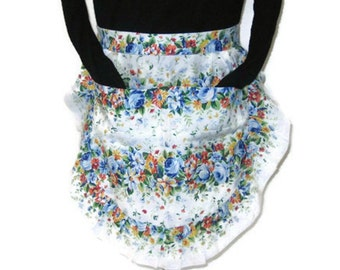 60s 70s Floral Apron Floral Half Apron 60s Flowered Apron 70s Kitchen Apron Apron with Pockets Ruffled Apron Blue White Floral Apron
