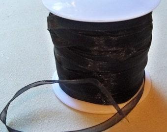 "Black Organza Ribbon-1/4""-10 YDS"