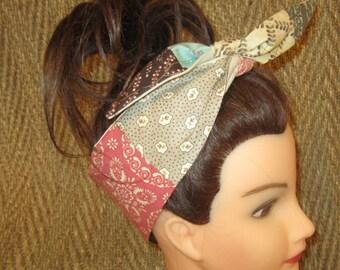 Patchwork rambling rose reversible headband/ reversible headbands/ rockability headbands
