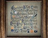 Halloween Sampler cross stitch patterns by Cottage Garden Samplings at thecottageneedle.com October 31 Autumn black cat