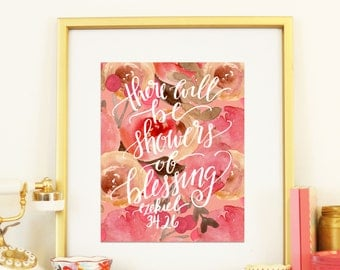 Ezekiel 34:26 There Will be Showers of Blessings Thanksgiving Watercolor Floral Handlettered Digital Print Modern Calligraphy Gratitude