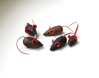 Mid Century Mouse Family Cryptomeria Red Ears Tails Hand Carved Mice Japan 1970's