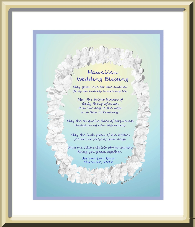 Wedding Gifts From Hawaii: Personalized Wedding Gift Hawaiian Wedding Blessing Original
