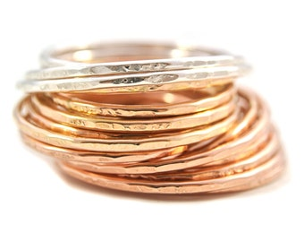 Delicate 18ga 1.5mm stacking rings gold filled sterling silver oxidized rose gold filled