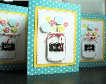 Handmade Mother's Day Card, Mason Jar Card, Mom's Day Card, Floral, Happy Mother's Day