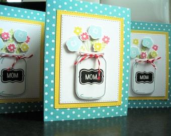 Handmade Mother's Day Card Unique, Mason Jar Card, Mom's Day Card, Floral, Happy Mother's Day