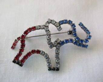GOP vintage rhinestone pin- elephant, USA, red white and blue