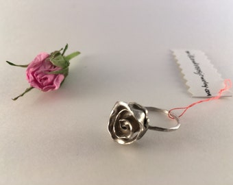 Rumpled Rose Ring ~ Rose Ring ~ Sterling Silver Sculpted Botanical Flower Ring