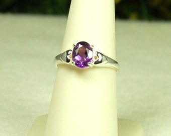 Amethyst Ring, Size 7, Royal Purple, Natural Amethyst, Sterling Silver, February Birthstone, Amethyst Solitaire, Purple Amethyst