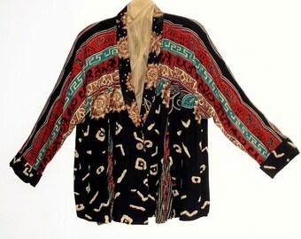 Tribal Print Duster . Bohemian Multi color jacket