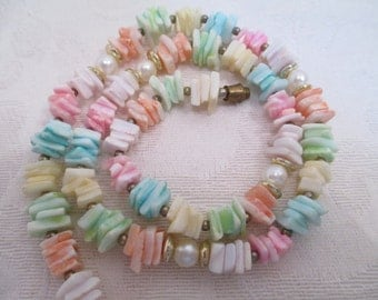 Vintage Pastel Puka Bead Shell Necklace- Made in the Philippines- 1970s necklace