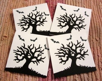 Spooky Tree Mini Cards  Set of 4