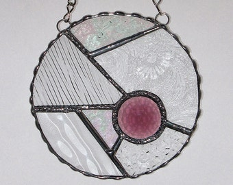 Stained Glass Suncatcher - Abstract Design, Clear Textured Glass, Faceted Glass Jewel