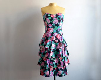 Vintage 1980s Strapless Floral Prom Dress