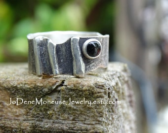 Sterling silver ring, rustic, reticulated, oxidized, black Onyx stone, one of a kind, metalsmith ring, metalsmith jewelry, jodene moneuse