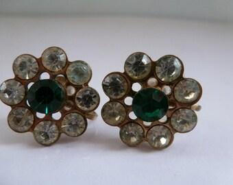 Vintage Earrings Screw Back Rhinestone Earrings Green and Clear Rhinestone Earrings
