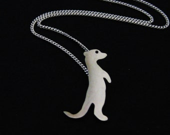 Meerkat Necklace - Silver Meerkat Jewelry - Cute South African Animal Gift