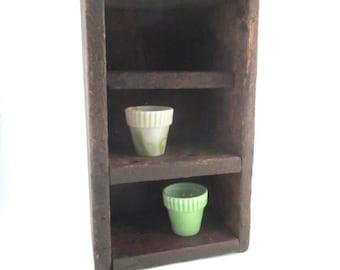 Vintage Display Shelf Rustic Primitive Decor File Box Handmade Storage