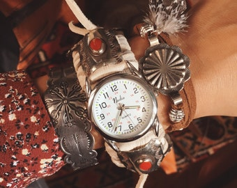 CWC-04, handmade adjustable cuff watch with repurposed vintage concho