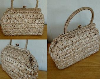 Vintage 1950's Rattan Bag  / 50s Straw handbag made in Italy for Franklin Simon / Resort Bag