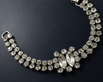 Vintage  JAY FLEX STERLING Bracelet. Silver Rhinestone Bracelet. Signed 925 Silver Bracelet  No.00106