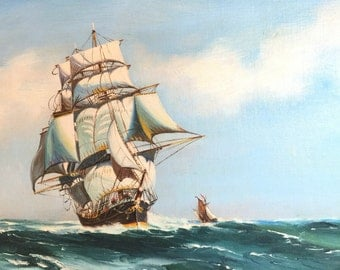 Antique Seascape Painting. Clipper Sailing Ship . Nautical Picture signed E Harris. Marine Painting. Boat Scene. partsforyou. cs