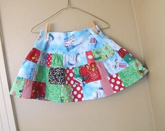 Minnie - Mickey Christmas  skirt  5t, 6, 6x, 7  twirl - ready to ship -Frozen Holiday skirt