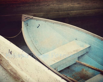 Two Boats, Maine Photography, Fine Art Prints, Light Blue, Ocean, Wooden Dinghy, Nautical Wall Art, Coastal Home Decor, Cove, Skiffs