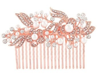 Rose gold hair comb, bridal rose gold comb, rose gold hair jewellery, rose gold headpiece, rose gold crystal comb, trailing rose gold comb
