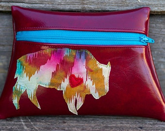 Let the Buffalo Roam Red Vinyl Pouch