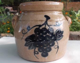 Vintage Stoneware Brown Crock Blue grapes Bowl