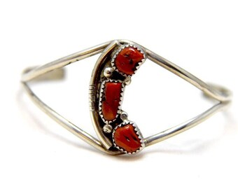 Vintage Red Coral Sterling Silver Native American Southwest Cuff Bracelet