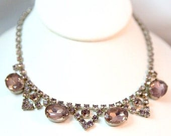 Vintage Hollywood Glamour Pale Pink Prong Set Crystal Rhinestone Choker Necklace