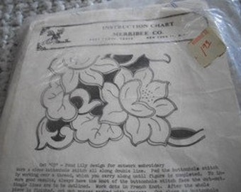 Meribee Co. Stamped Linen Cutwork Scarf