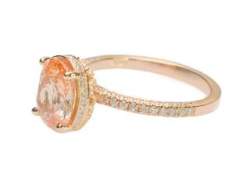 untreated 2 carts Sunset Sapphirerose gold engagement ring   sapphire engagement ring   SKU 2534 JOANNA