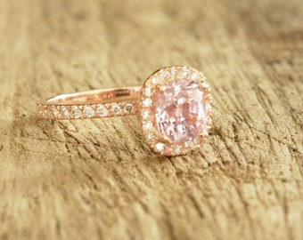 CERTIFIED Unheated natural peach champagne sapphire, 14k rose gold, oval sapphire engagement ring  Joan- 2305