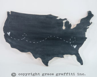 United States of America Wooden Wall Art, Distressed Chalkboard, Modern Rustic