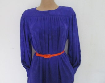 Silk Dress Vintage / Size EUR40 / 42 / UK12 / 14 / Pencil Dress / with Pockets / Violet