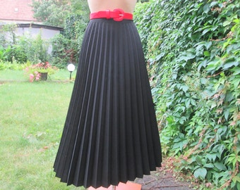 Pleated Skirt / Pleated Skirts / Long Pleated Skirt / Black Pleated Skirt / Size EUR42 X UK14 / A Line Skirt / Circle Skirt