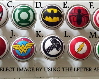 Superhero knobs / Bedroom Dresser Knob / Nursery Drawer Knobs / Super hero Ceramic knobs / Superhero Cabinet Knobs Pull Handle Hardware
