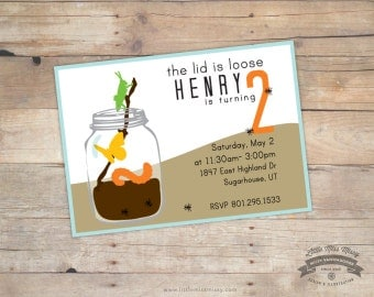 Bug Jar Theme Invite - Explore- Baby Shower Birthday DIY Printable 5x7