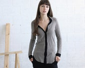 Striped Knit blouse-Light Gray jersey shirt