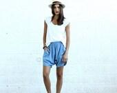 Sale 70 Off Holidays Sale Drop Crotch Shorts- Light blue- denim shorts.
