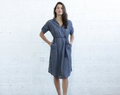Valentines day SALE 30% OF Embroidered Button down dress, Gray.