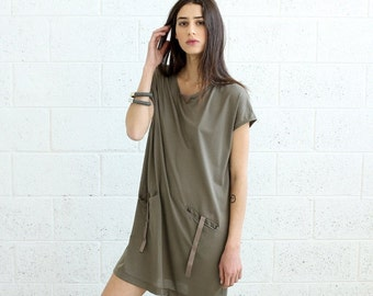 Summer SALE SALE!T-shirt Dress With Leather Details, Grey.