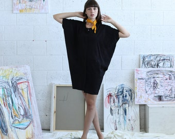 Hidden Placket black dress