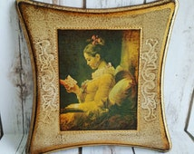 A Young Girl Reading, Jean Fragonard Painting, Fragonard Wood Paint, Antique Painting, Victorian Painting, Collectible Paint
