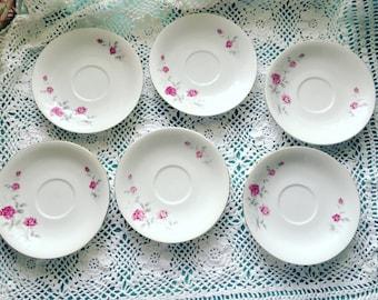 Set of 6 Pink Roses Saucers, Ceramic Rose Plates, Shabby Chic Roses Plates, Tea Party Saucer Plates
