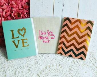 Set of 3 Gold Foil Albums, Love Photo Albums, Wedding Album, Shabby Chic Photo Albums