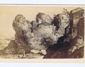 Antique Vintage Curiousity 19th century Transformational Carte de Visite Photograph Old Lady Landscape